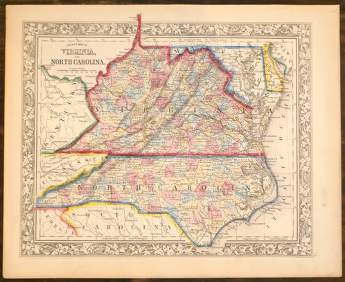 Virginia and north carolina 1860 old maps schein schein made by s augustus mitchell in philadelphia 1860 12 12 x 15 12 in size a handsome steel engraved map of virginia and north carolina showing counties publicscrutiny Gallery