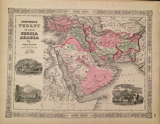1863 Johnson's Map of Turkey,Persia and Arabia in Steel Engraving