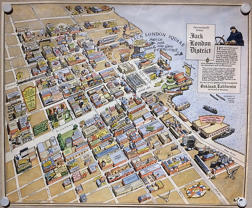 1952 Illustrated Map of Jack London District w/ hand color