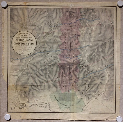 1866 Topographical Map showing the Locations of the Sutro Tunnel, etc