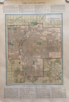 1927 School Map of Denver Co. by Collins w/ Hc