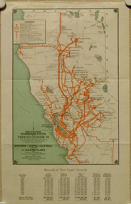 PG&E Map of Northern & Central California, 1929