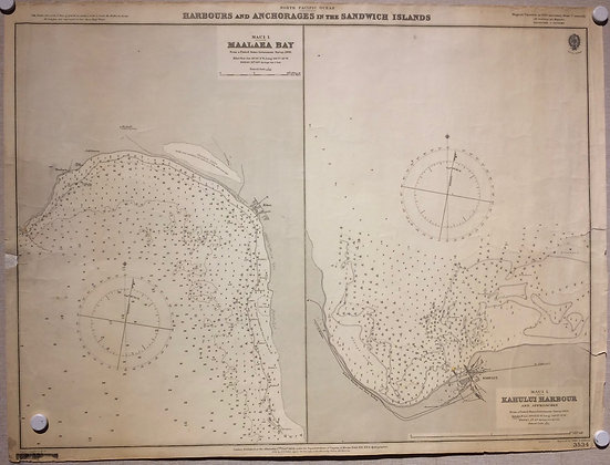 1910 Chart of the harbours of Sandwich Islands (hawaii)