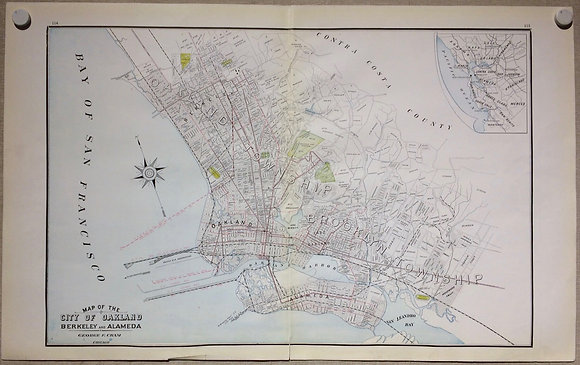1901 Map of Oakland by Cram's
