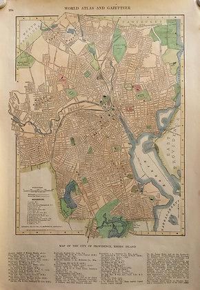 1927 School Map of Providence, Rhode Island w/Hc