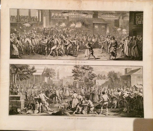 1726 View of a Turkish Party and its King  by Benard Picart in Copper Engraving