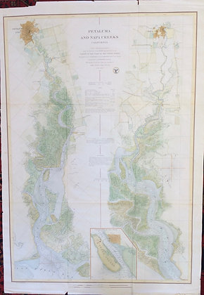 1866 USCS Chart of Napa and Petaluma Rivers w/ hand water color