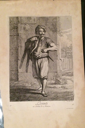 1726 View of a Turk by Benard Picart in Copper Engraving