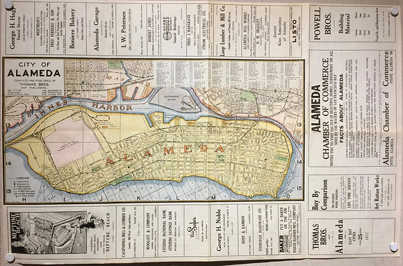 1927 Alameda Island map with hand color