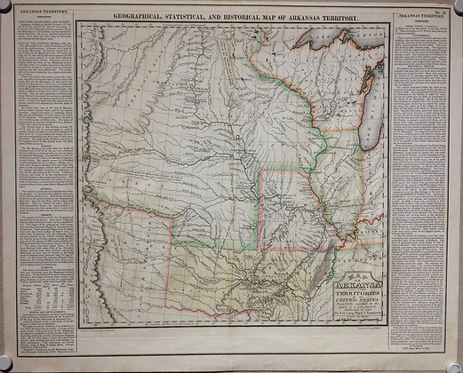 1822 Map of Arkansa and Other Territories of the united states by Major SH Long