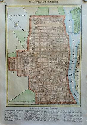 1927 School Map of Detroit, MI by Collins w/ hc