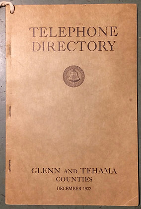 1932 Glenn and Tehama Counties Phonebook