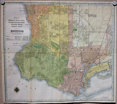 1963 Bekins map of San Pedro,Redondo and Hermosa Beaches