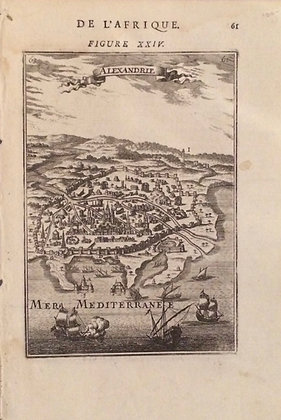 1719 map of Alexandria by Mallet in copper engraving