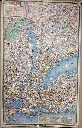 1965 Sinclair Gasoline Map of the New York area,with Long Island