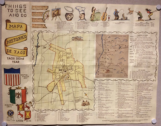 1967 Map of Taos,NM> by the chamber of commerce, with hand color -both sides