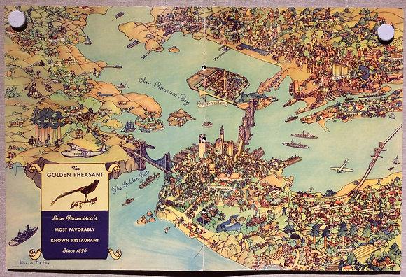 1939 Golden Pheasant Menu cartograph