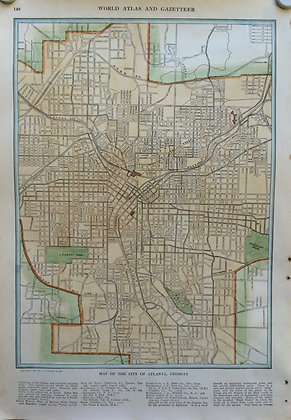 1927 School Map of Atlanta, Ga. by Collins w/ Hc