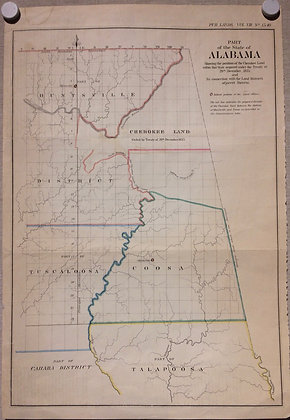 1838 Alabama General land Office map w/ hand color
