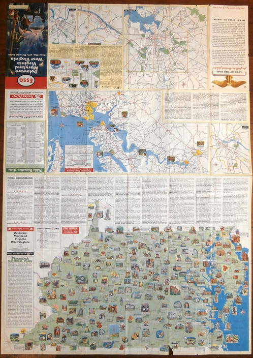 pictorial guide to delaware maryland virginia and west virginia made by esso in 1952 usa 24 x 34 in size a folding animated map of delaware