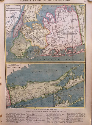 1927 School Map of Long Island, NY by Collins w/ Hc