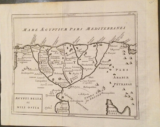 1731 map of the Egyptian Delta by Cellarius