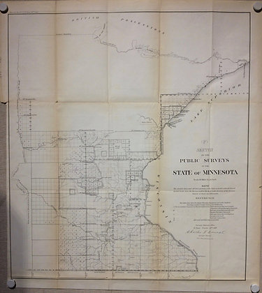 1859 GLO Map of Public Surveys of Wisconsin and Michigan