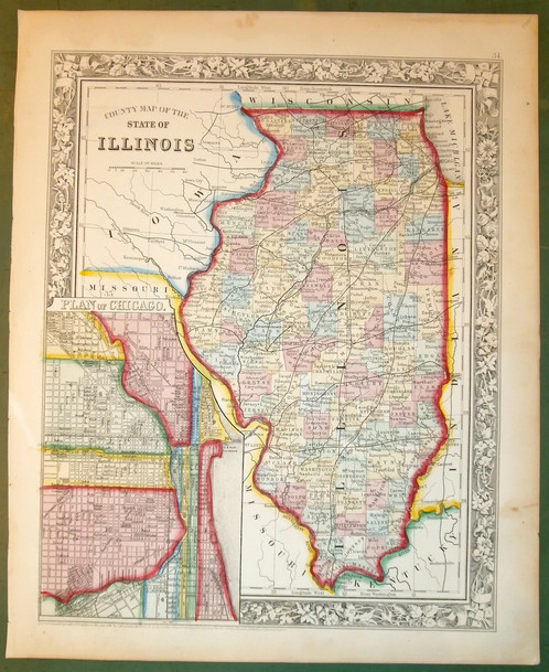 Illinois 1861 Old Maps Schein Schein Antique Maps Prints