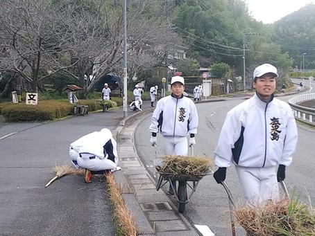 久木田・下門町内会 年末の清掃活動に鹿児島高校野球部の皆様に参加いただきました!