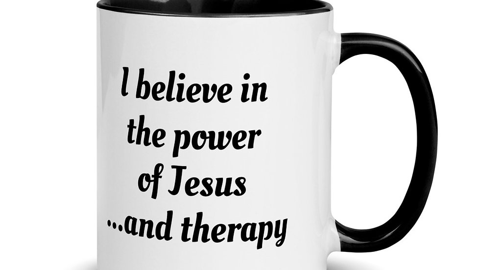 """Jesus and Therapy"" Mug with Color Inside"