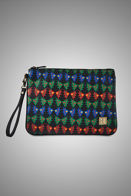 LEATHER WRISTLET ZIP POUCH - FISH ON A PLATEAU