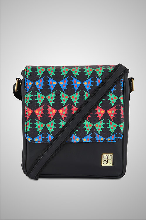 LEATHER CROSSBODY BAG - FISH ON A PLATEAU