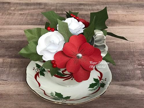 Teacup: Christmas Paper Flowers