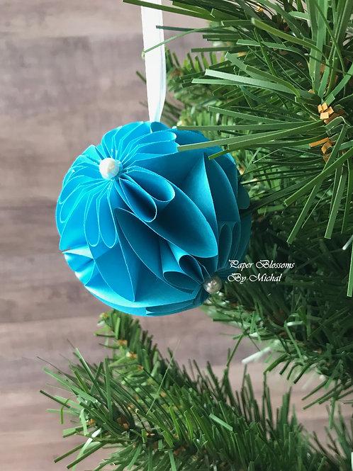 Blue Ornament: White Ribbon