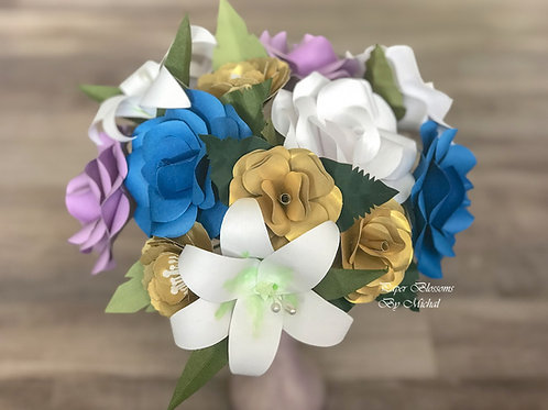 Purple, White, Blue, and Gold Bouquet