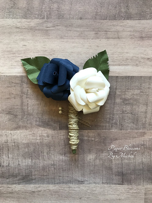 Navy and White Twine Boutonniere