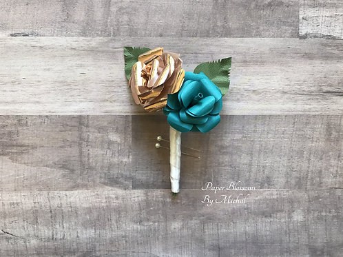 Rose Gold and Teal Boutonniere