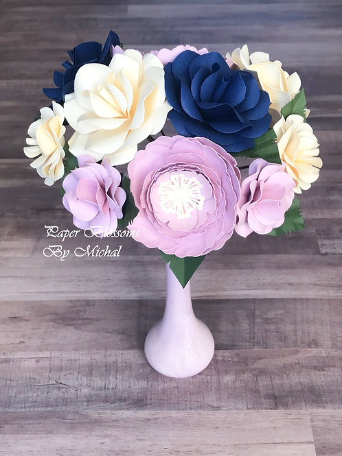 Mauve, Cream, and Navy Paper Flower Bouquet