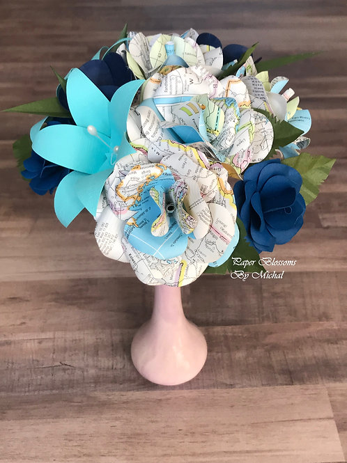 Map and Blue Mix Paper Flower Bouquet