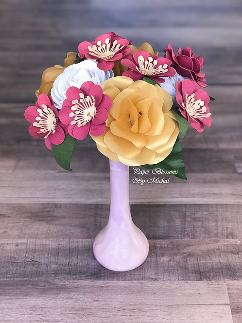 Gold and Raspberry Paper Flower Bouquet