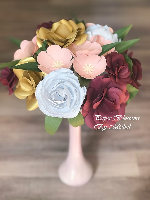 Boho Gold, Burgundy, and Blush Paper Flower Bouquet