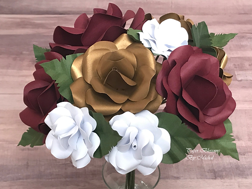 Burgundy, Gold, and White Bouquet