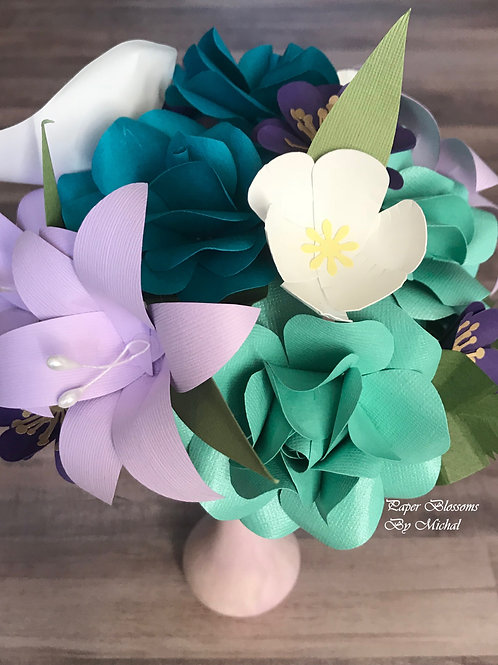 Purple and Turquoise Mix Paper Flower Bouquet