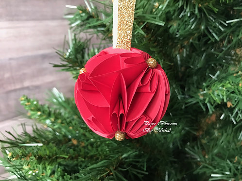 Red and Gold Glitter Ornament