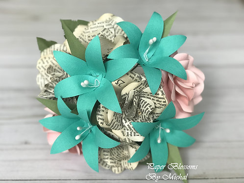 Pride and Prejudice, Teal, and Pink Paper Flower Bouquet