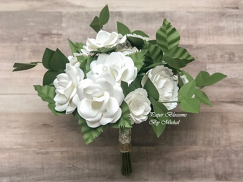 Rustic White Paper Flower Bouquet and Boutonniere