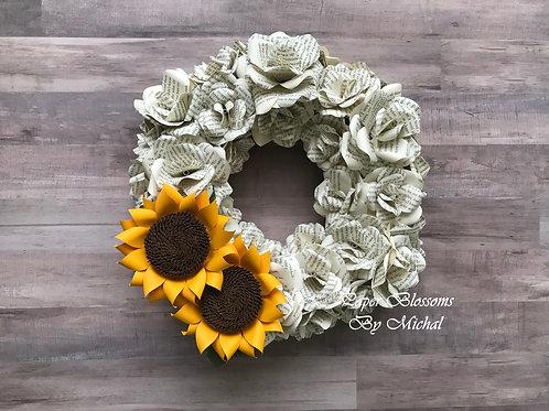 Book Print Wreath