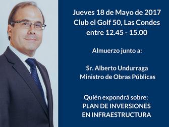18 Mayo: Almuerzo junto a Ministro Obras Públicas