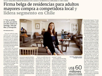 Noticias Socios: Acalis, residencia para adultos mayores, compra Ambar Residence y liderar el segmen