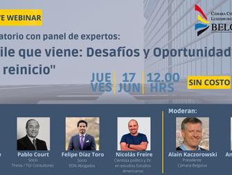 """Invitación Webinar Belgolux: """"El Chile que viene: Desafíos y Oportunidades de un reinicio"""""""
